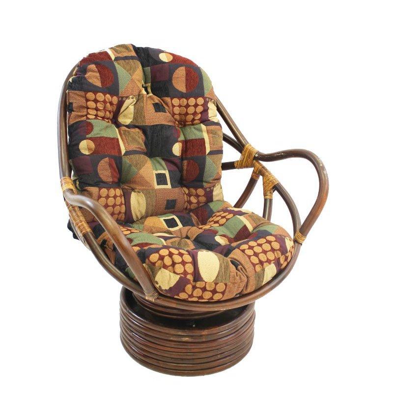 International Caravan Rattan Swivel Rocker with Cushion in Kaleidoscope