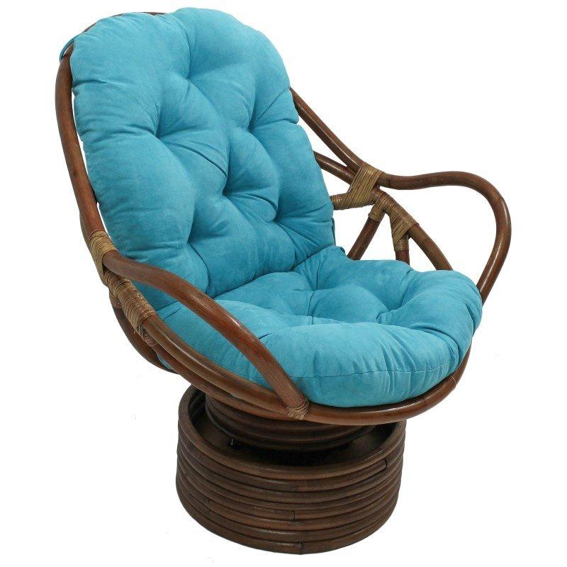 International Caravan Rattan Swivel Rocker with Micro Suede Cushion in Aqua Blue