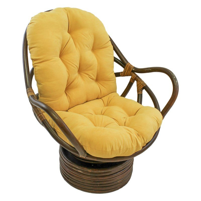 International Caravan Rattan Swivel Rocker with Micro Suede Cushion in Lemon