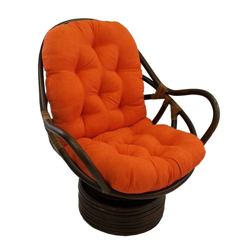 International Caravan Rattan Swivel Rocker with Micro Suede Cushion in Tangerine Dream