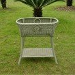 International Caravan Resin and Aluminum Oval Double Planter in Antique Moss