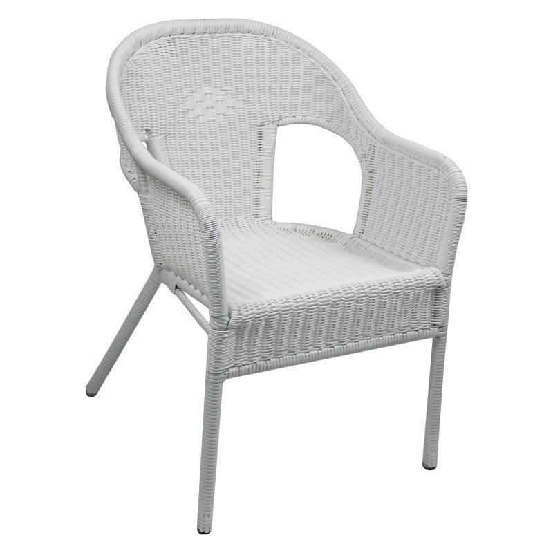 International Caravan Resin Wicker Outdoor 2-Piece Bistro Chairs in White