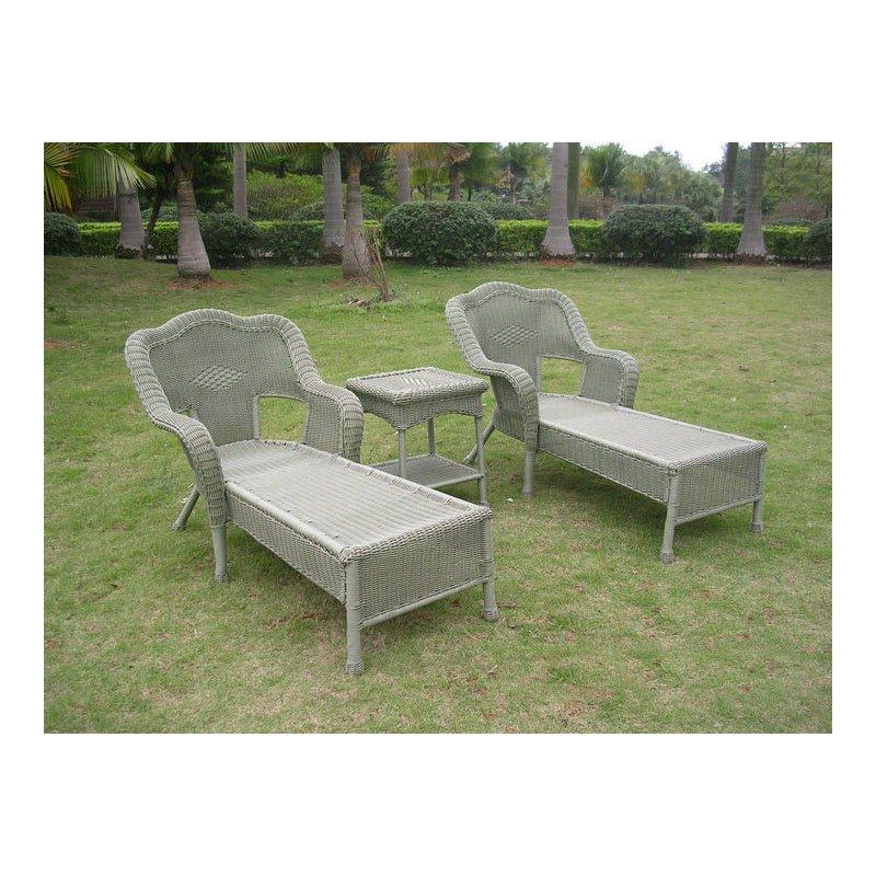 International Caravan Resin Wicker Outdoor 3-Piece Chaise Lounge Set in Antique Moss