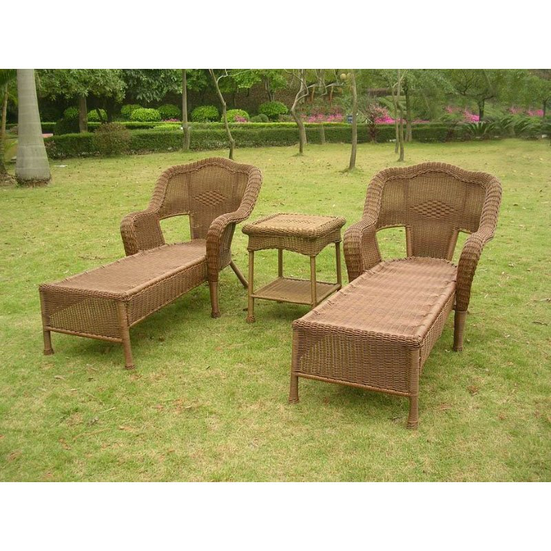 International Caravan Resin Wicker Outdoor 3-Piece Chaise Lounge Set in Mocha