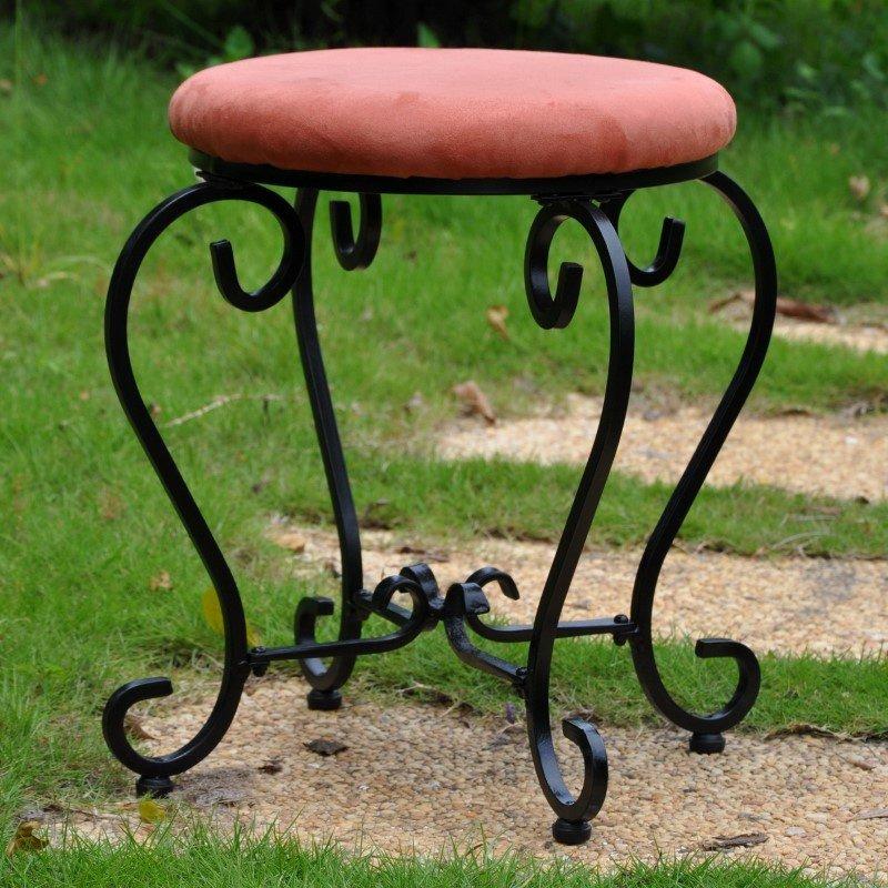 International Caravan Round Iron Vanity Stool with Cushion in Terra Cotta
