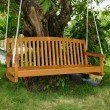 """International Caravan Royal Tahiti 59"""" Wood 3 Seated Swing in Brown Stain"""