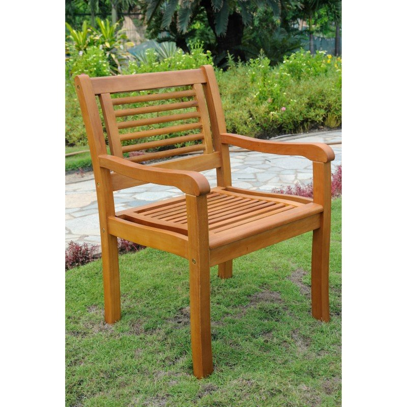 International Caravan Royal Tahiti Bar Harbor 2-Piece Arm Chair in Brown Stain