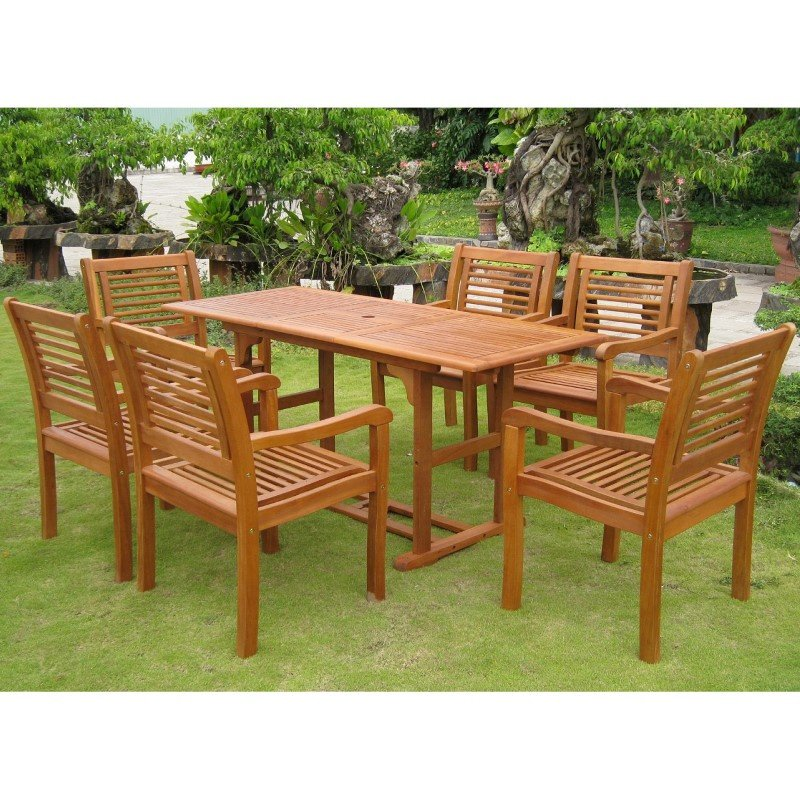 International Caravan Royal Tahiti Cervera Rectangular Dining Set in Stain