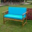 International Caravan Royal Tahiti Gulf Port Arm Bench with Aqua Blue Cushions in Dark Honey/Aqua Blue