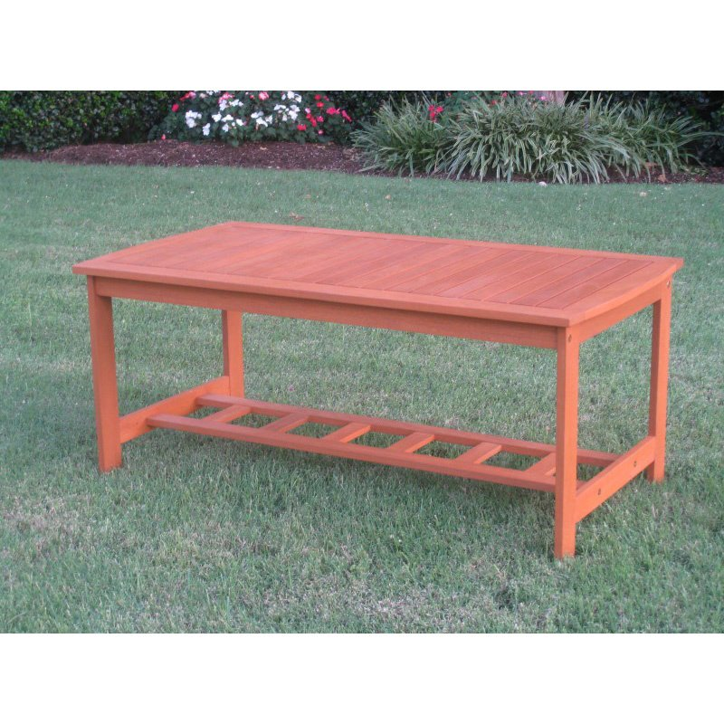 International Caravan Royal Tahiti Gulf Port Rectangular Wood Coffee Table in Brown Stain
