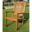 International Caravan Royal Tahiti Large Outdoor Wood Rocking Chair in Brown Stain
