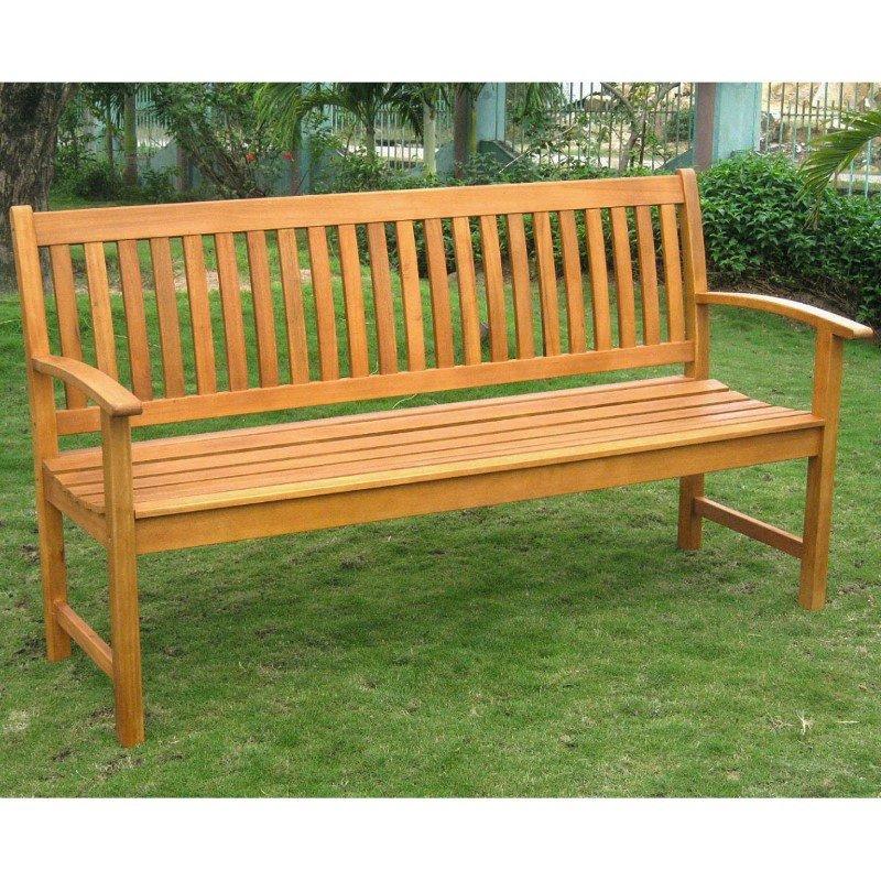 International Caravan Royal Tahiti Outdoor Wood 3 Seated Bench in Brown Stain