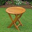 International Caravan Royal Tahiti Round Wood Folding Table in Brown Stain