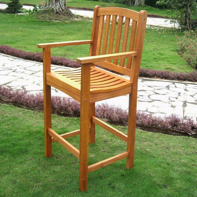 International Caravan Royal Tahiti Wood 2-Piece Bar Height Arm Chair in Brown Stain