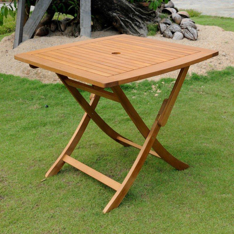 International Caravan Royal Tahiti Wood Square Round Folding Table in Brown Stain