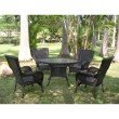 International Caravan San Tropez 5-Piece Outdoor Dining Set in Antique Black