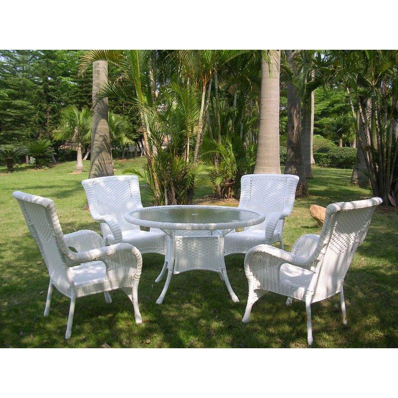 International Caravan San Tropez 5-Piece Outdoor Dining Set in White