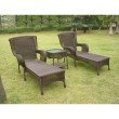 International Caravan San Tropez Resin Wicker 3-Piece Chaise Lounge Set in Antique Pecan