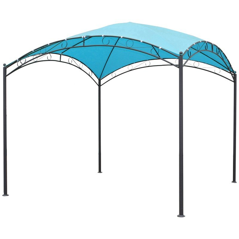 International Caravan Square 10' Dome Top Gazebo in Aqua Blue and Dark Grey