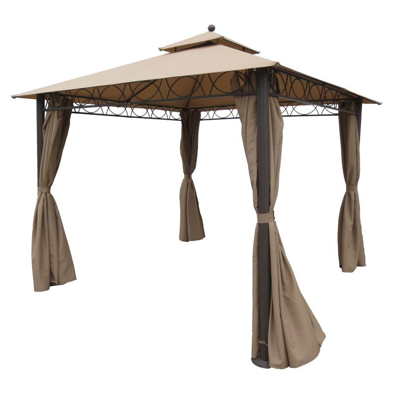 International Caravan Square 10' Double Vented Gazebo with Drapes in Khaki and Coffee