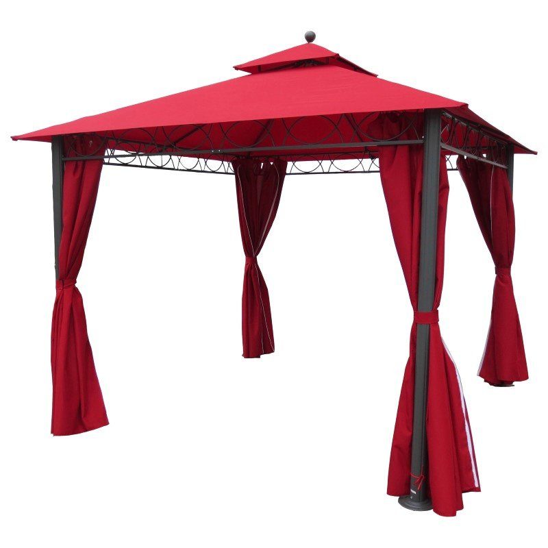 International Caravan Square 10' Double Vented Gazebo with Drapes in Ruby Red and Dark Grey