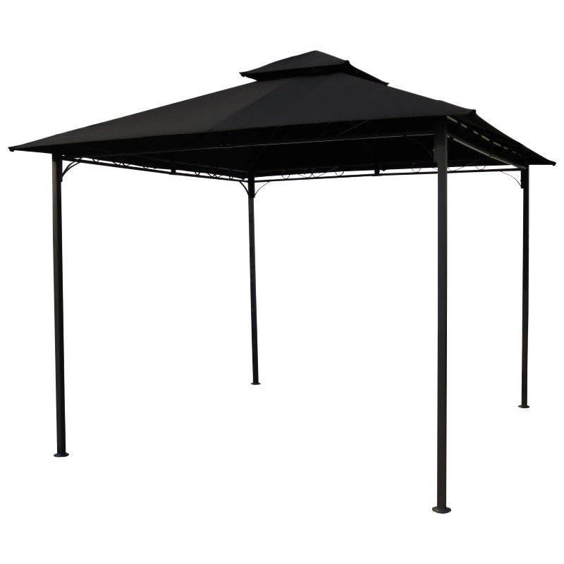 International Caravan Square Vented Canopy Gazebo in Black