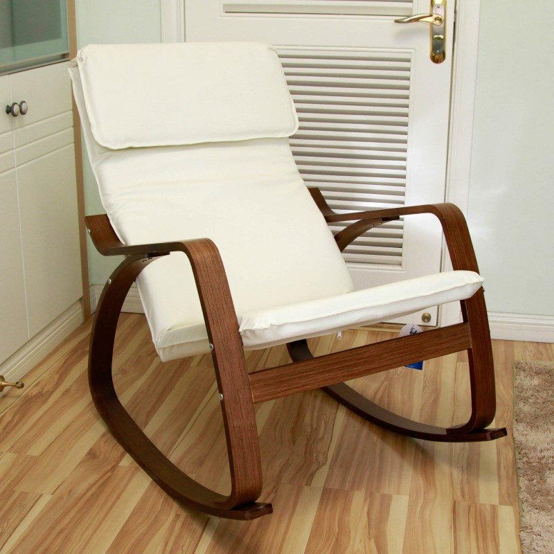International Caravan Stockholm Contemporary Bentwood Rocking Chair in Ivory