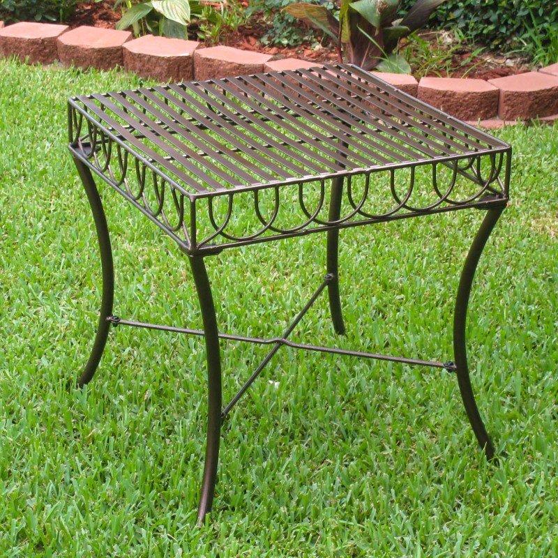 International Caravan Sun Ray Iron Side Table in Bronze