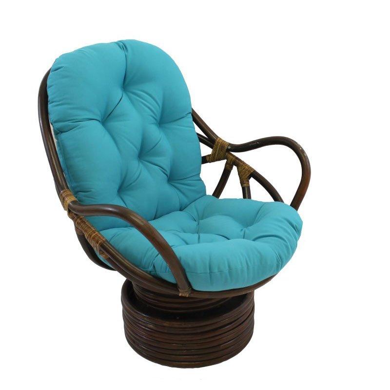 International Caravan Swivel Rocker with Twill Cushion in Aqua Blue