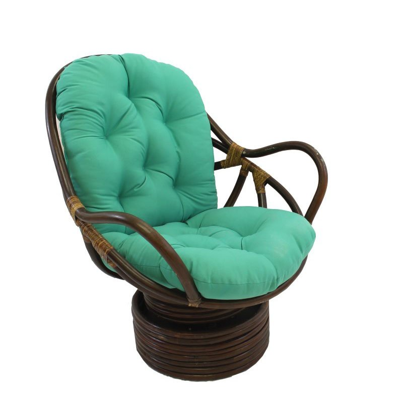International Caravan Swivel Rocker with Twill Cushion in Emerald