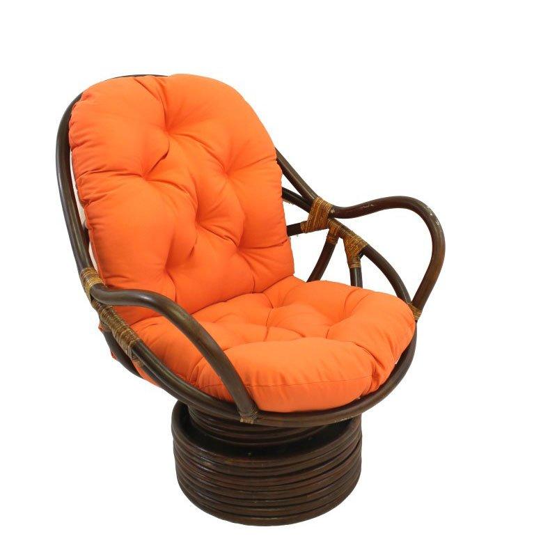 International Caravan Swivel Rocker with Twill Cushion in Tangerine Dream