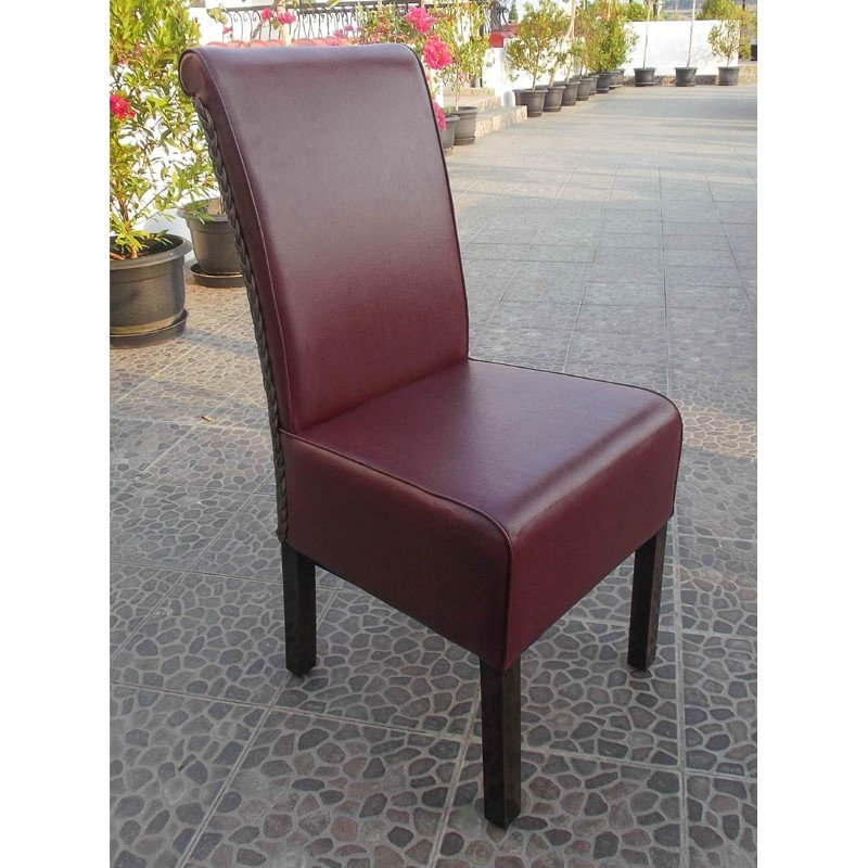 International Caravan Upholstered Philip Dining Chair with Faux Leather (Set of 2) in Brown