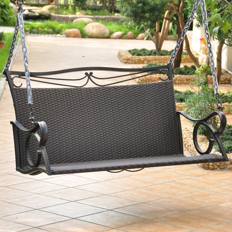 International Caravan Valencia Resin Wicker and Steel Loveseat Swing in Black Antique