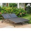 International Caravan Valencia Resin Wicker and Steel Multi Position Double Chaise Lounge in Chocolate