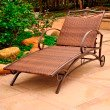 International Caravan Valencia Resin Wicker and Steel Multi Position Single Chaise Lounge in Antique Brown