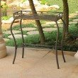 International Caravan Valencia Resin Wicker and Steel Rectangular Plant Table in Antique Brown