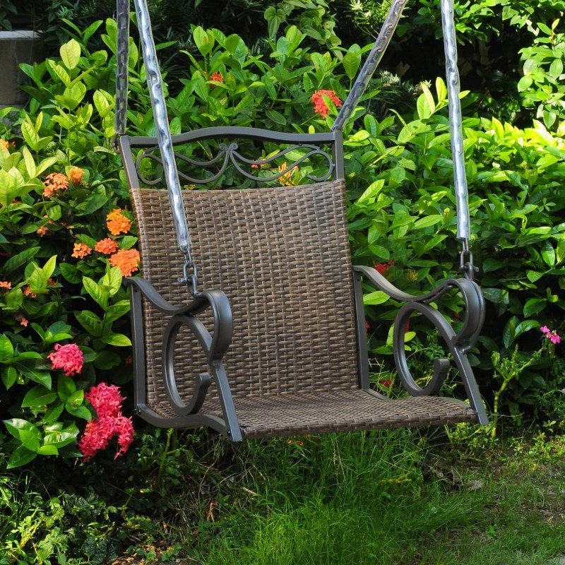 International Caravan Valencia Resin Wicker and Steel Single Chair Swing in Antique Brown