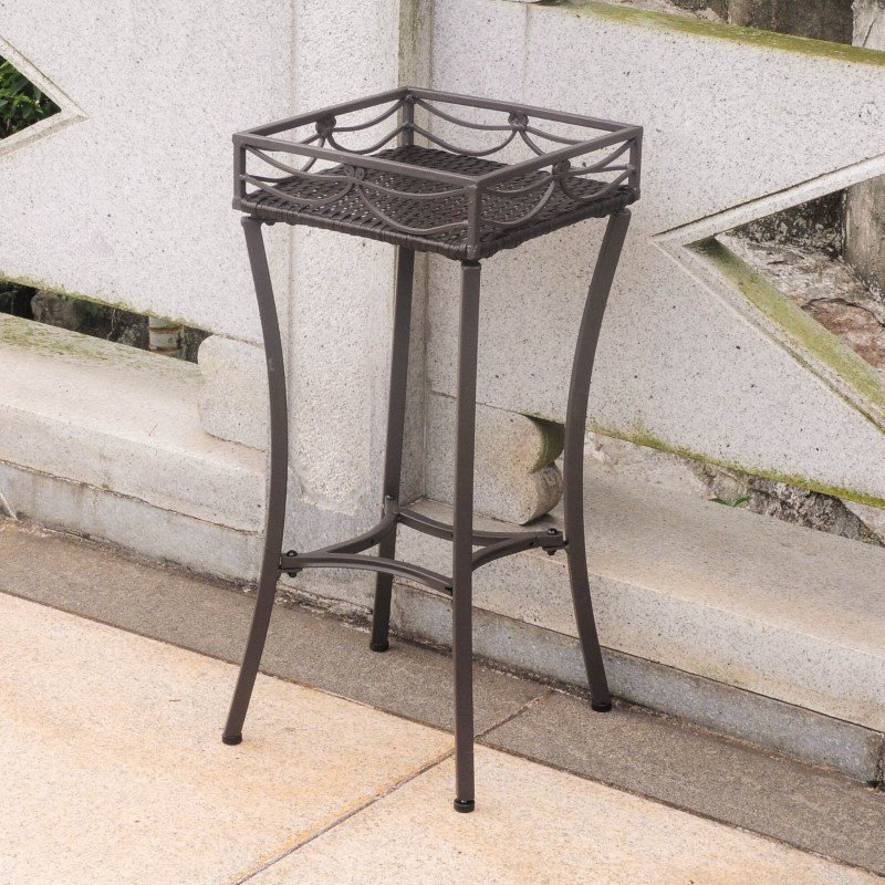 International Caravan Valencia Resin Wicker and Steel Square Plant Stand in Chocolate