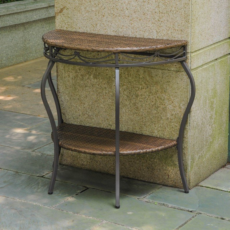 International Caravan Valencia Resin Wicker and Steel Two Tier Half Moon Wall Table in Antique Brown
