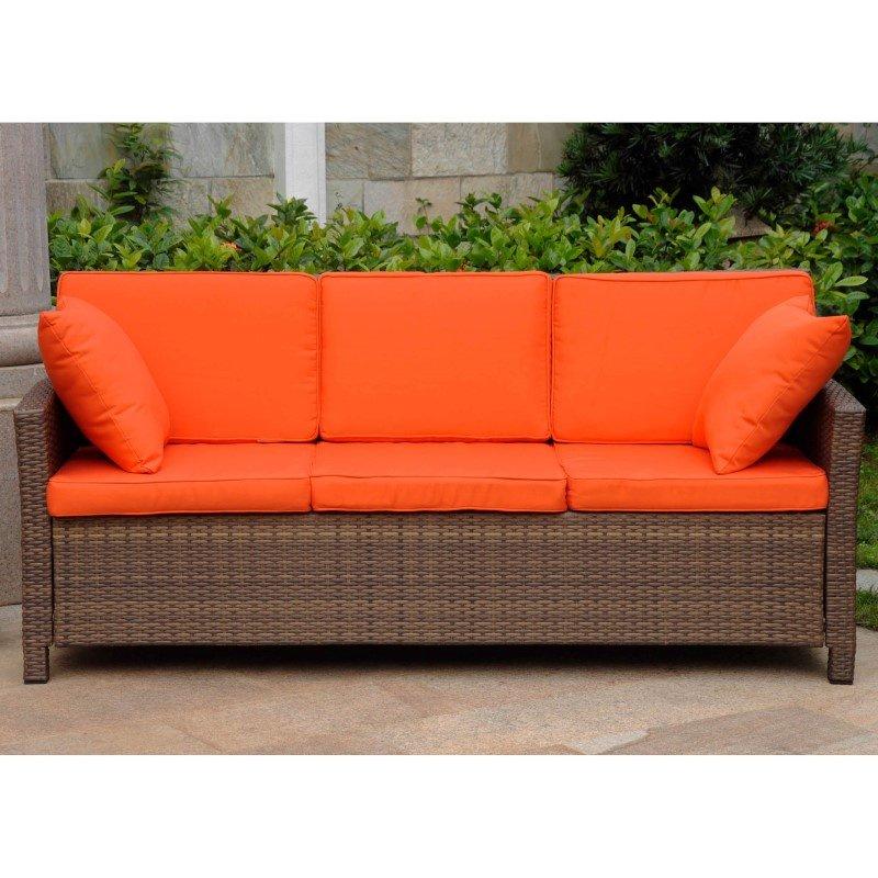 International Caravan Valencia Resin Wicker Contemporary Deep Seat Sofa with Cushion in Antique Brown