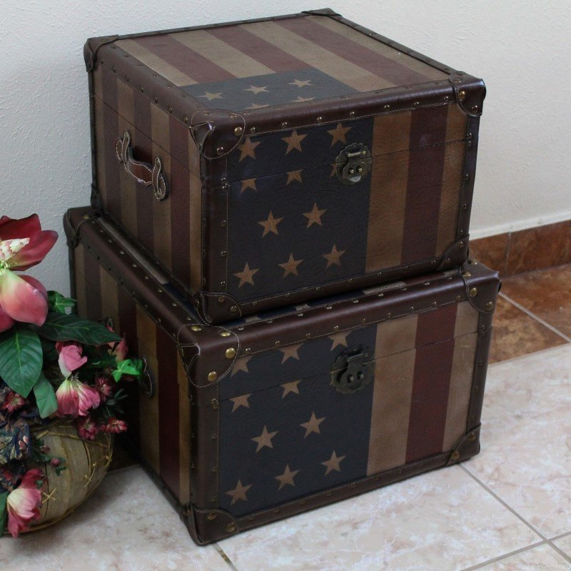 International Caravan Vintage 2-Piece Square Box in Red and Blue