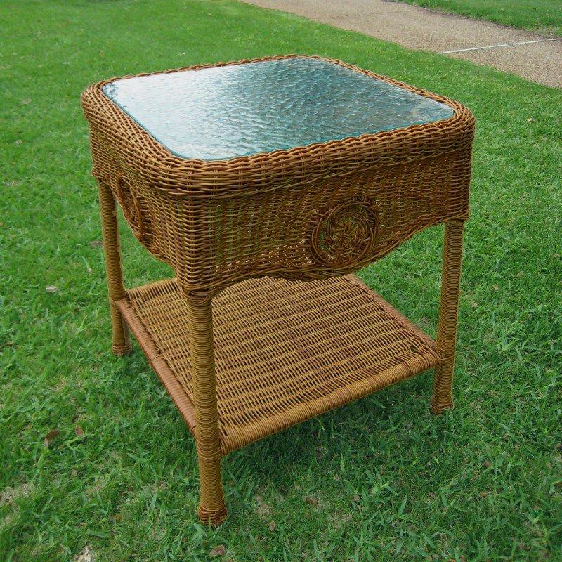 International Caravan Wicker Glass Top Side Table in Mocha