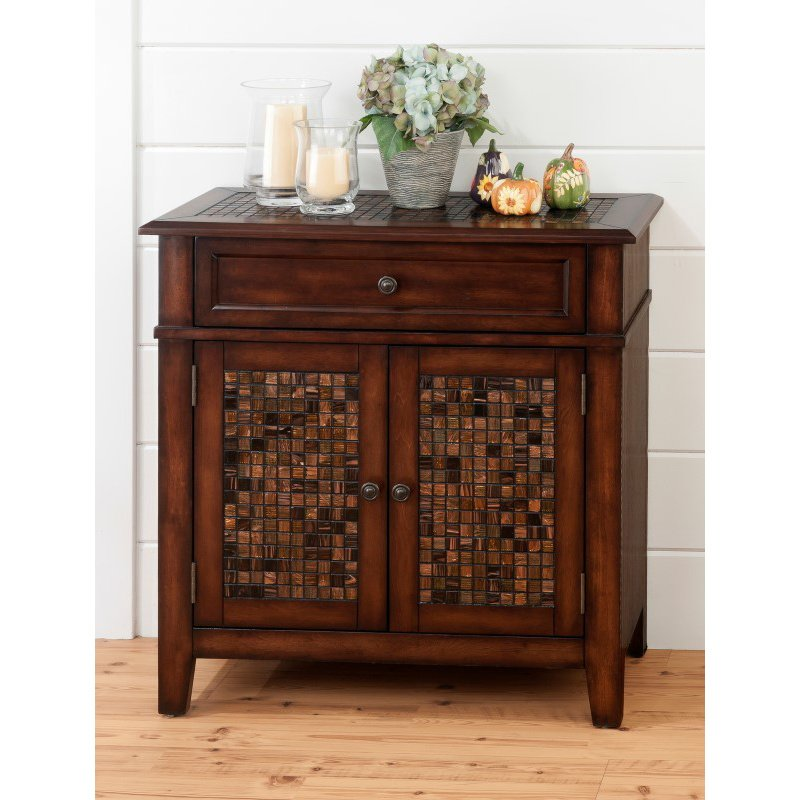 Jofran Baroque Brown Accent Cabinet with Mosaic Tile Inlay