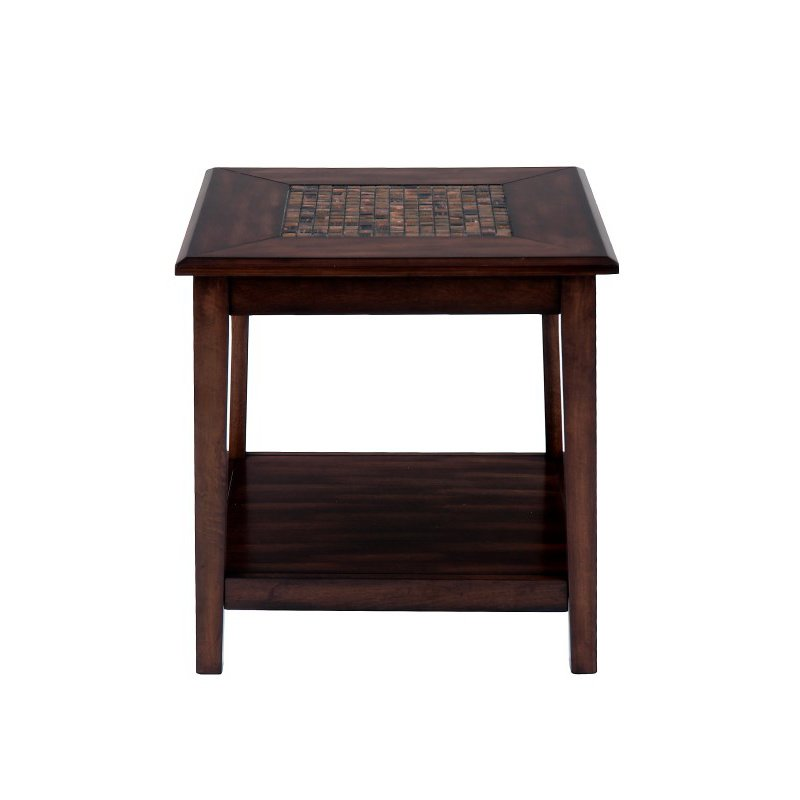 Jofran Baroque Brown End Table with Mosaic Tile Inlay