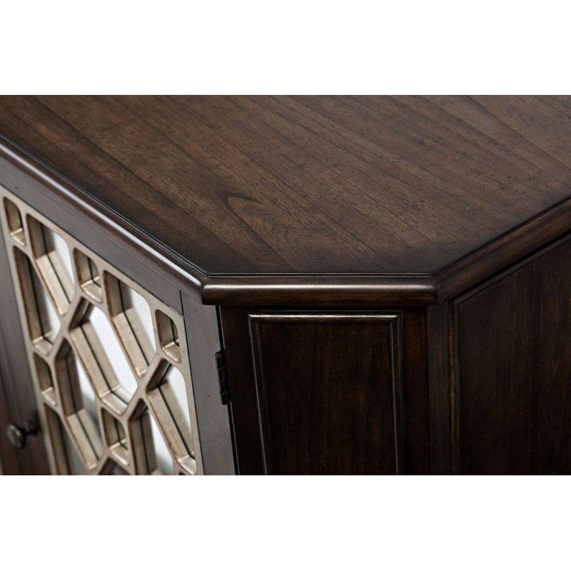 "Jofran Casa Bella 78"" Mirrored Console in Chestnut with Vintage Silver"