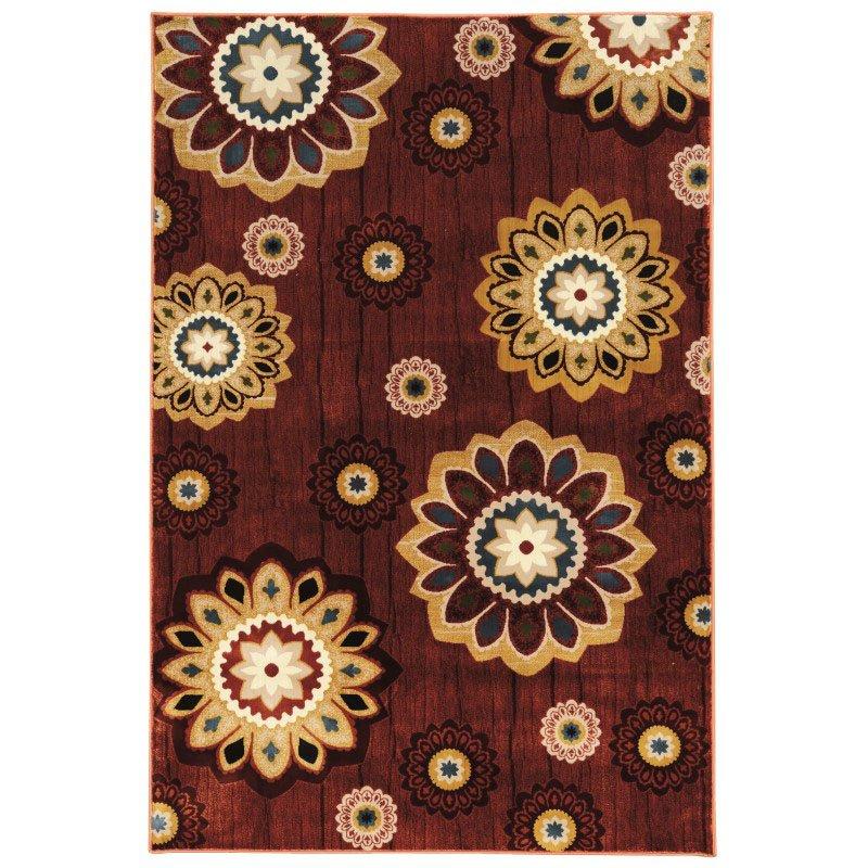 "Linon Art Silk Collection AK04 Rug 5' x 7' 6"" Burgundy and Gold Rectangle"