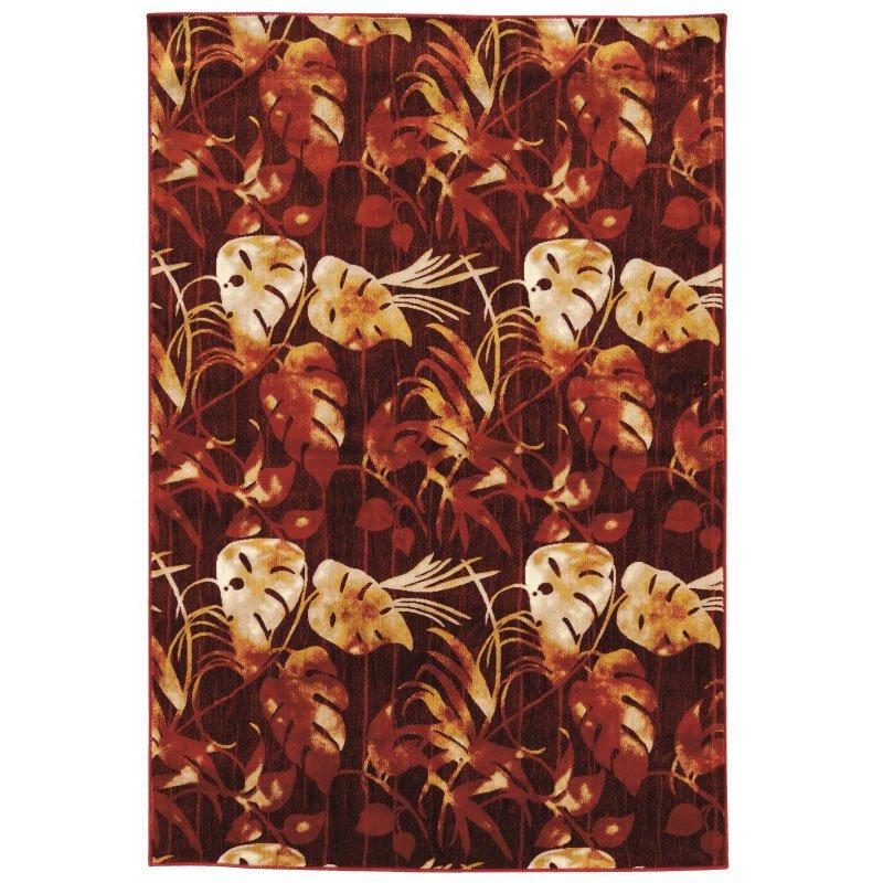 "Linon Art Silk Collection AK12 Rug 5' x 7' 6"" Red and Cream Rectangle"