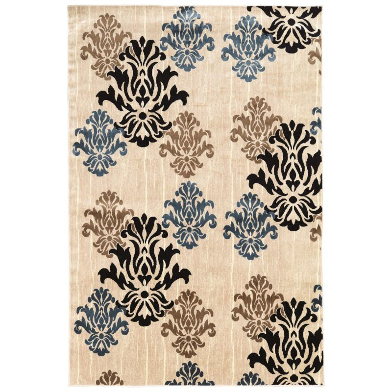"""Linon Art Silk Collection AK18 Rug 5' x 7' 6"""" Ivory and Blue Rectangle"""