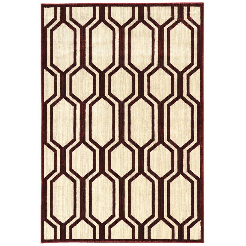"Linon Art Silk Collection AK24 Rug 5' x 7' 6"" Ivory and Burgundy Rectangle"
