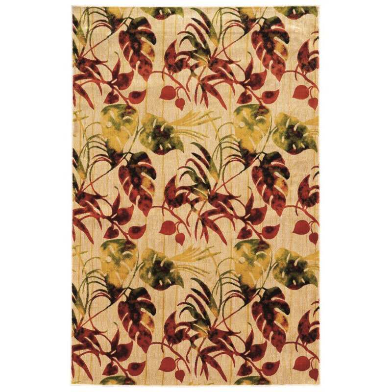 """Linon Art Silk Collection AK28 Rug 5' x 7' 6"""" Ivory and Gold Rectangle"""